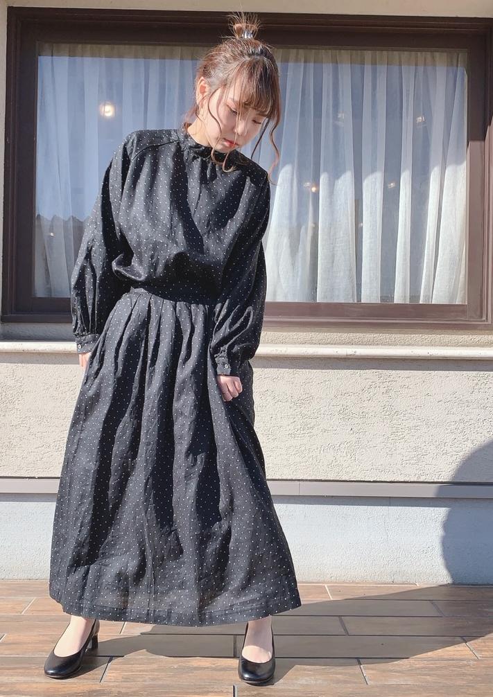 ラグランドットブラウス&リネンドットスカート